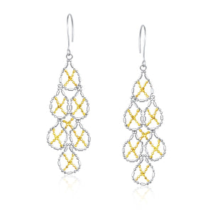 Unique Modern Paris Style 14K Yellow Gold & Sterling Silver Pear Shaped Beaded Earrings