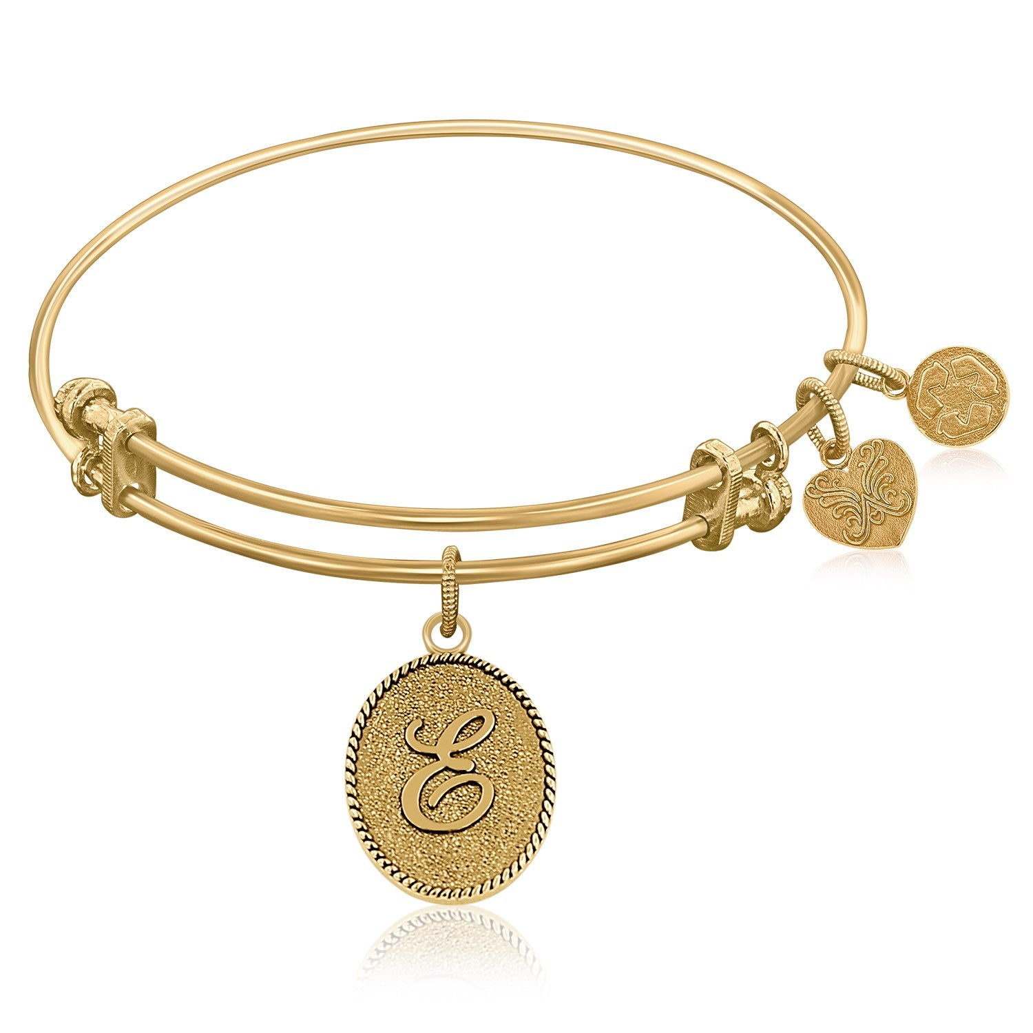 Expandable Bangle in Yellow Tone Brass with Initial E Symbol
