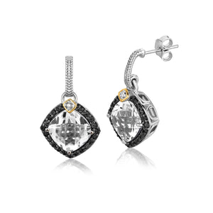 Unique Modern Paris Style 18K Yellow Gold and Sterling Silver Cushion Crystal Quartz and Diamond Earrings
