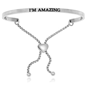 Stainless Steel I'm Amazing Adjustable Bracelet