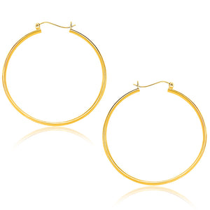 10K Yellow Gold Polished Hoop Earrings (40mm)