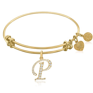 Expandable Yellow Tone Brass Bangle with P Symbol with Cubic Zirconia