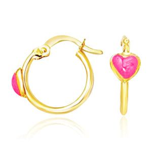 Original New York Style  14K Yellow Gold Hoop Earrings with Front Pink Heart Design