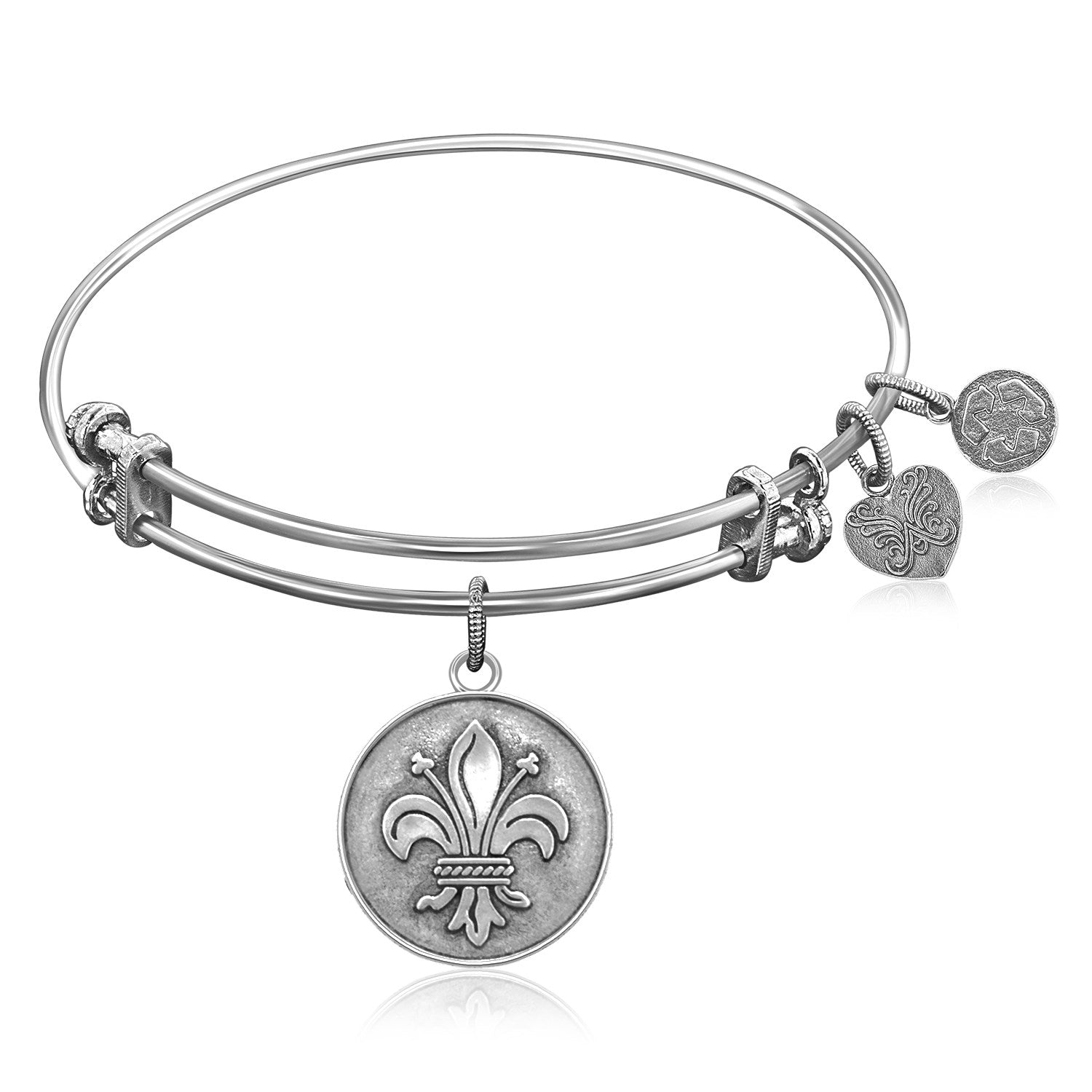 Expandable Bangle in White Tone Brass with Fleur-De-Lis Symbol