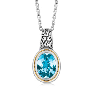 Unique Hollywood Style 18K Yellow Gold and Sterling Silver Necklace with Blue Topaz Milgrained Pendant