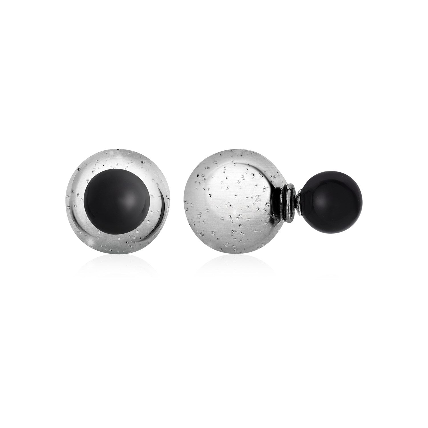 Textured Stud Earrings with Onyx in Sterling Silver