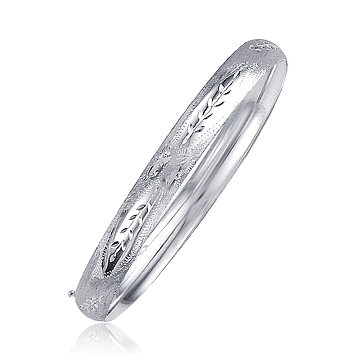 Classic Floral Carved Bangle in 14K White Gold (6.0mm)