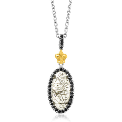 Distinctive Luxury London Style 18K Yellow Gold & Sterling Silver Oval Rutilated Quartz and Black Spinel Pendant