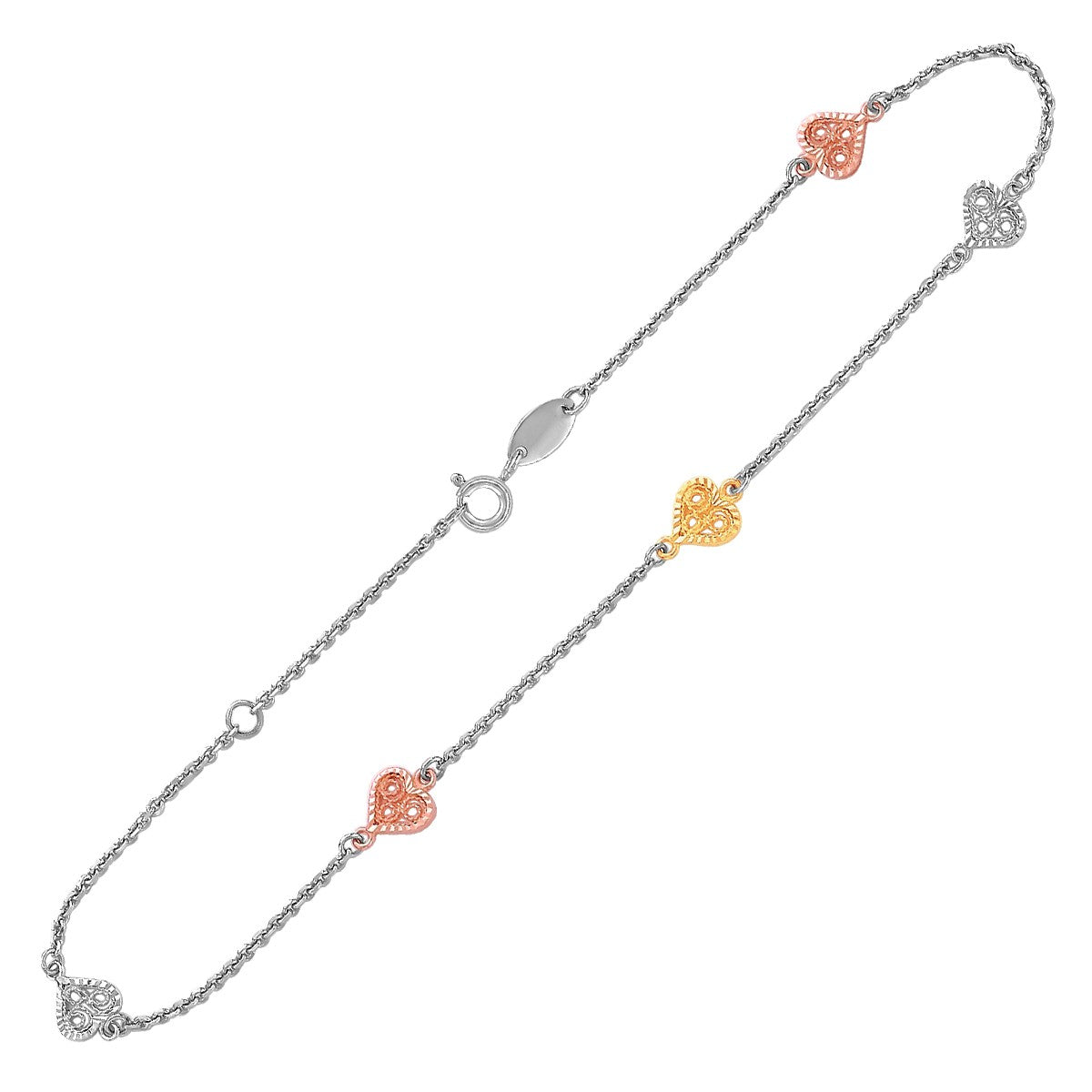 14K Yellow and Rose Gold and Sterling Silver Anklet with Filigree Heart Stations - Uniquepedia.com