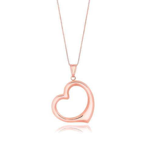 14K Rose Gold Floating Heart Drop Pendant
