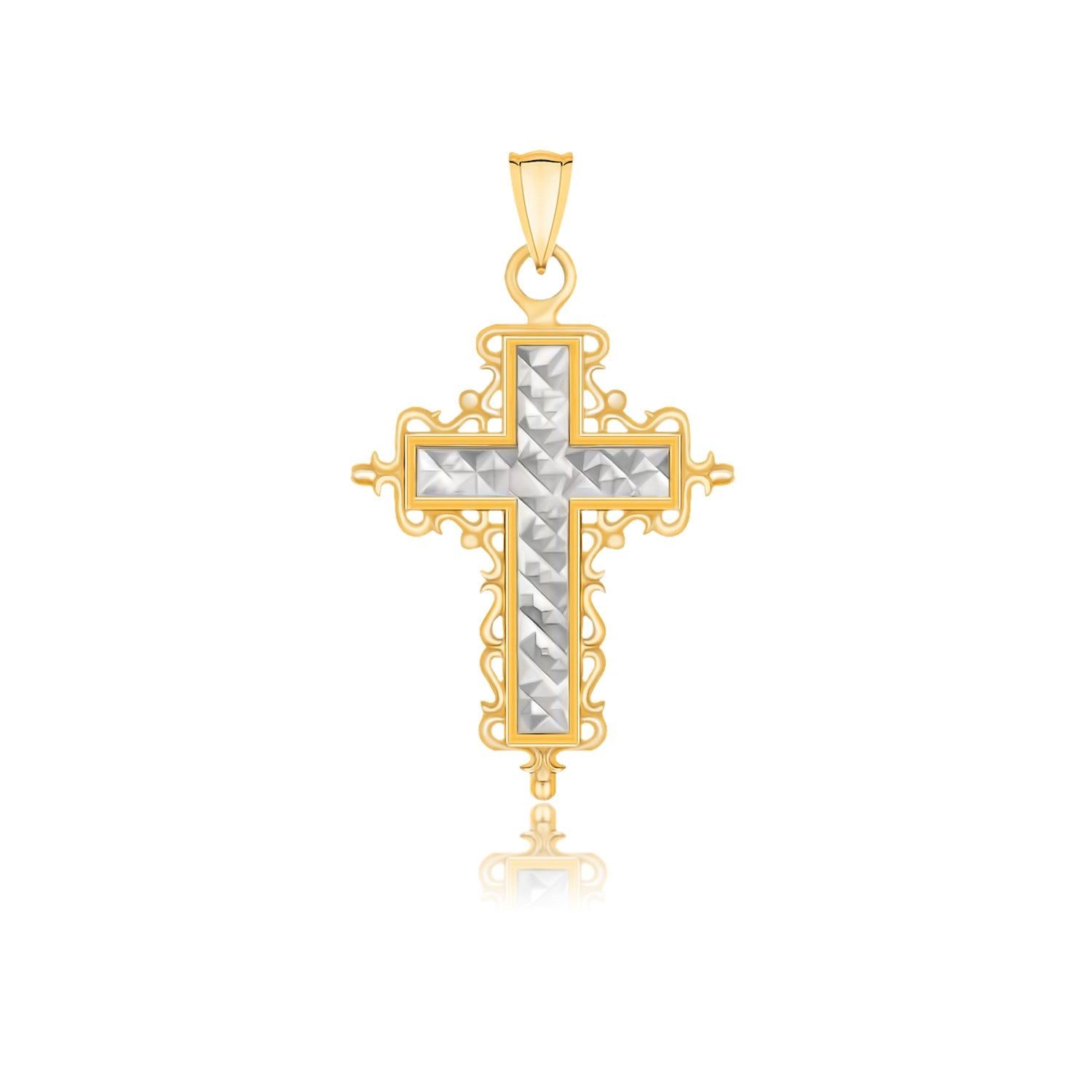 Distinctive Luxury London Style 14K Two-Tone Gold Diamond Cut and Baroque Inspired Cross Pendant
