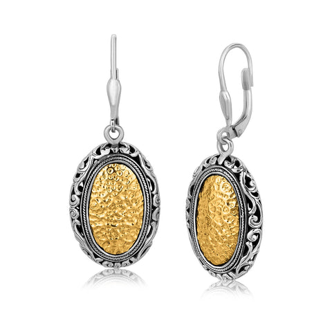 18K Yellow Gold and Sterling Vintage Style Oval Hammered Earrings