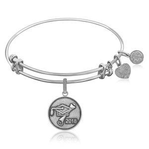 Expandable Bangle in White Tone Brass with Class Of 2018 Graduation Cap Symbol