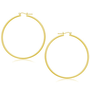 14K Yellow Gold Polished Hoop Earrings (55 mm)