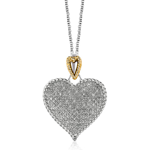Distinctive Luxury London Style Designer Sterling Silver and 14K Yellow Gold Heart Shape Pave Diamond Pendant