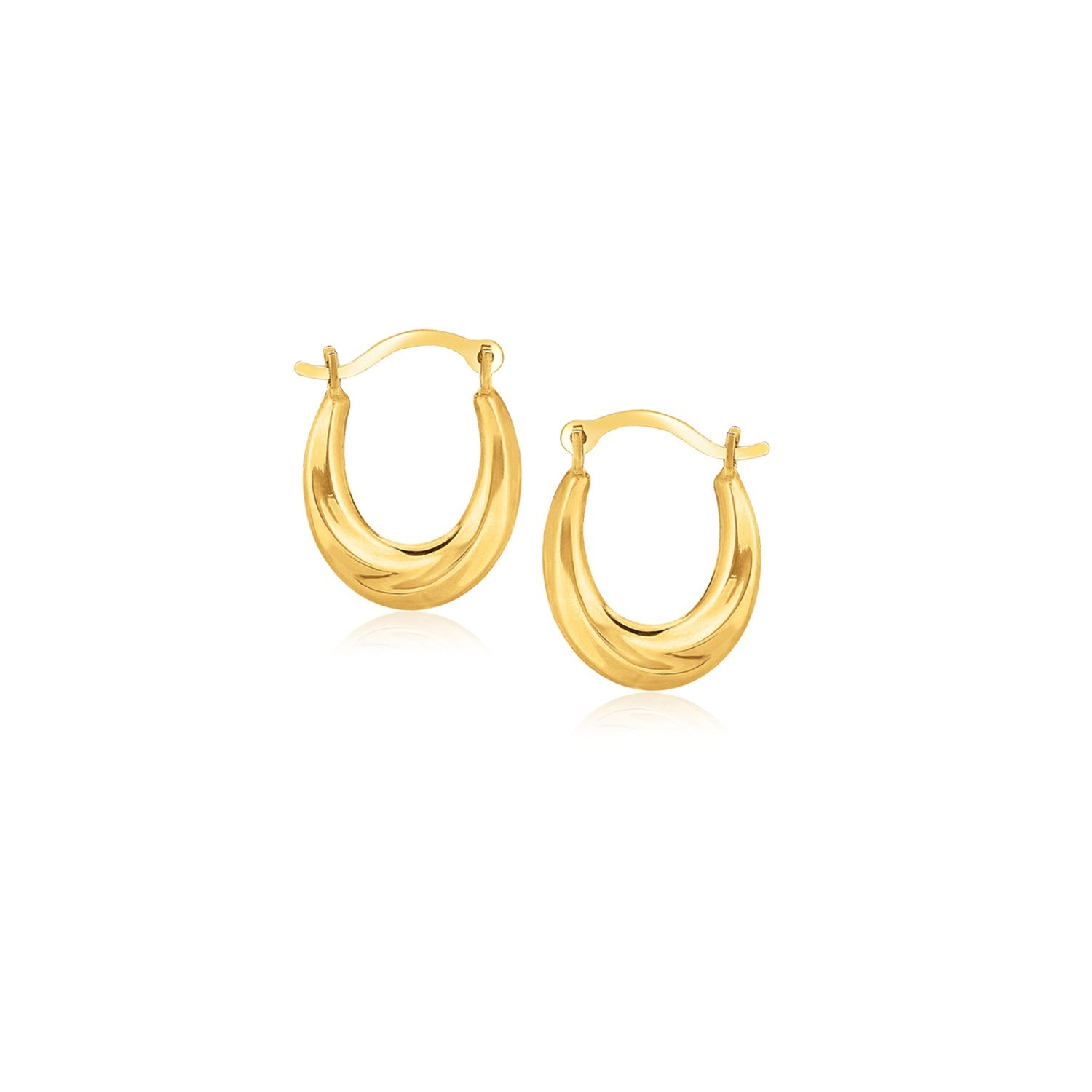 Modern Hollywood Style Classy 10K Yellow Gold Oval Hoop Earrings