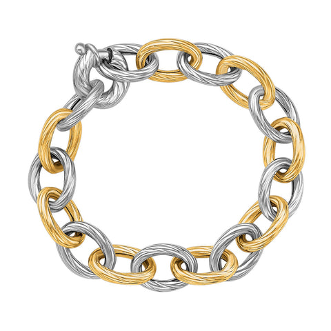 Unique Modern Monaco Style 18K Yellow Gold and Sterling Silver Rhodium Plated Diamond Cut Chain Bracelet