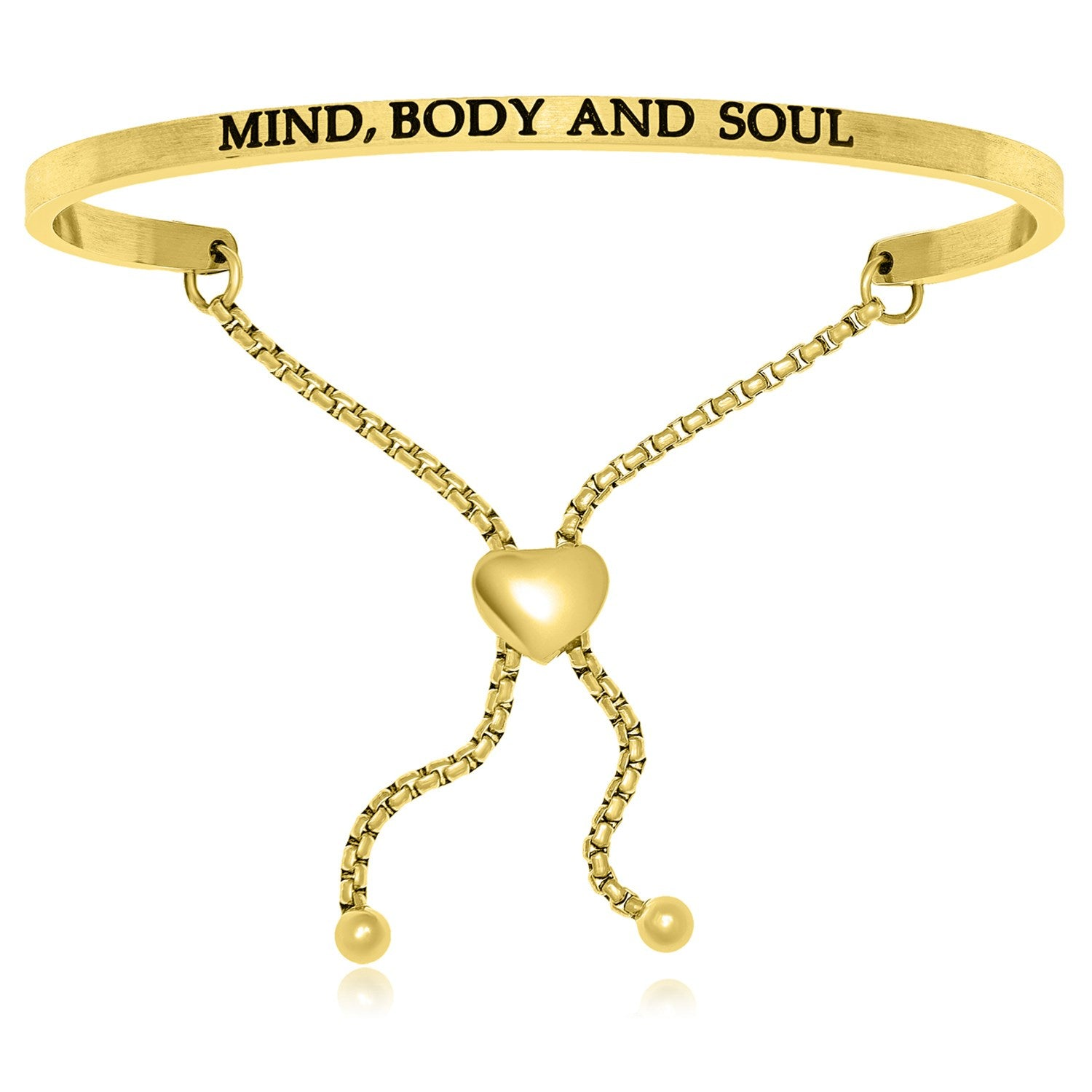 Yellow Stainless Steel Mind  Body And Soul Adjustable Bracelet
