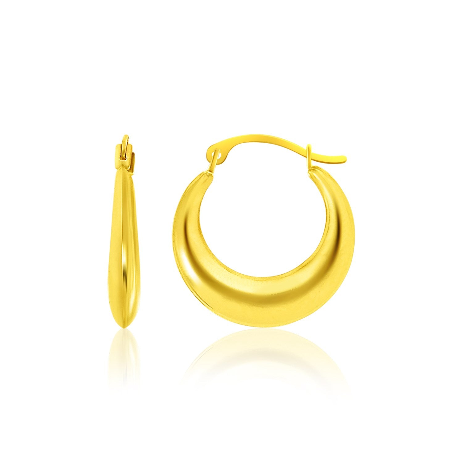 14K Yellow Gold Graduated Round Shape Hoop Earrings