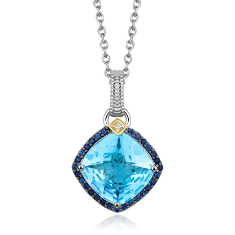 Distinctive Luxury London Style 18K Yellow Gold and Sterling Silver Cushion Multi Gemstone and Diamond Pendant