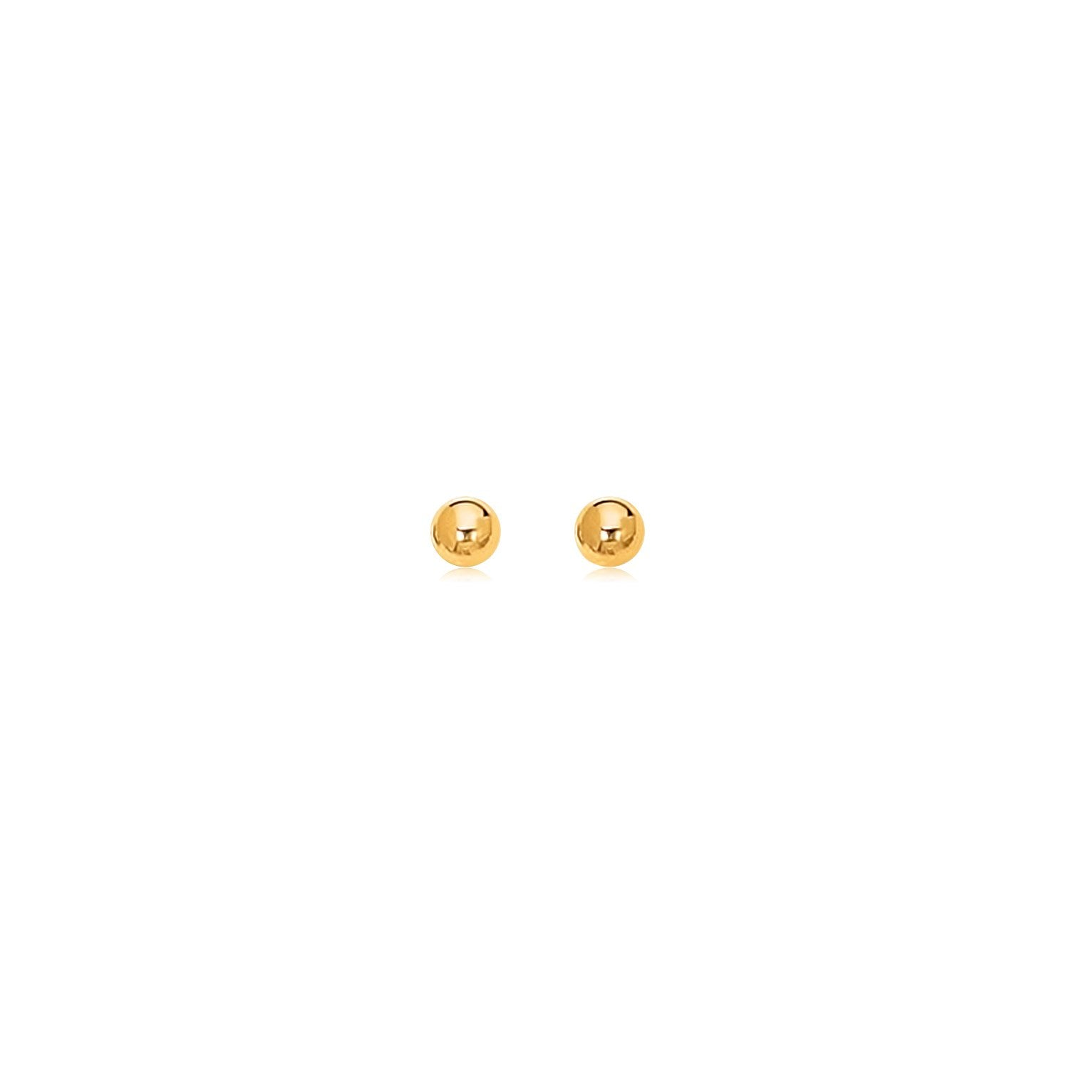 14K Yellow Gold Polished Round Stud Earrings
