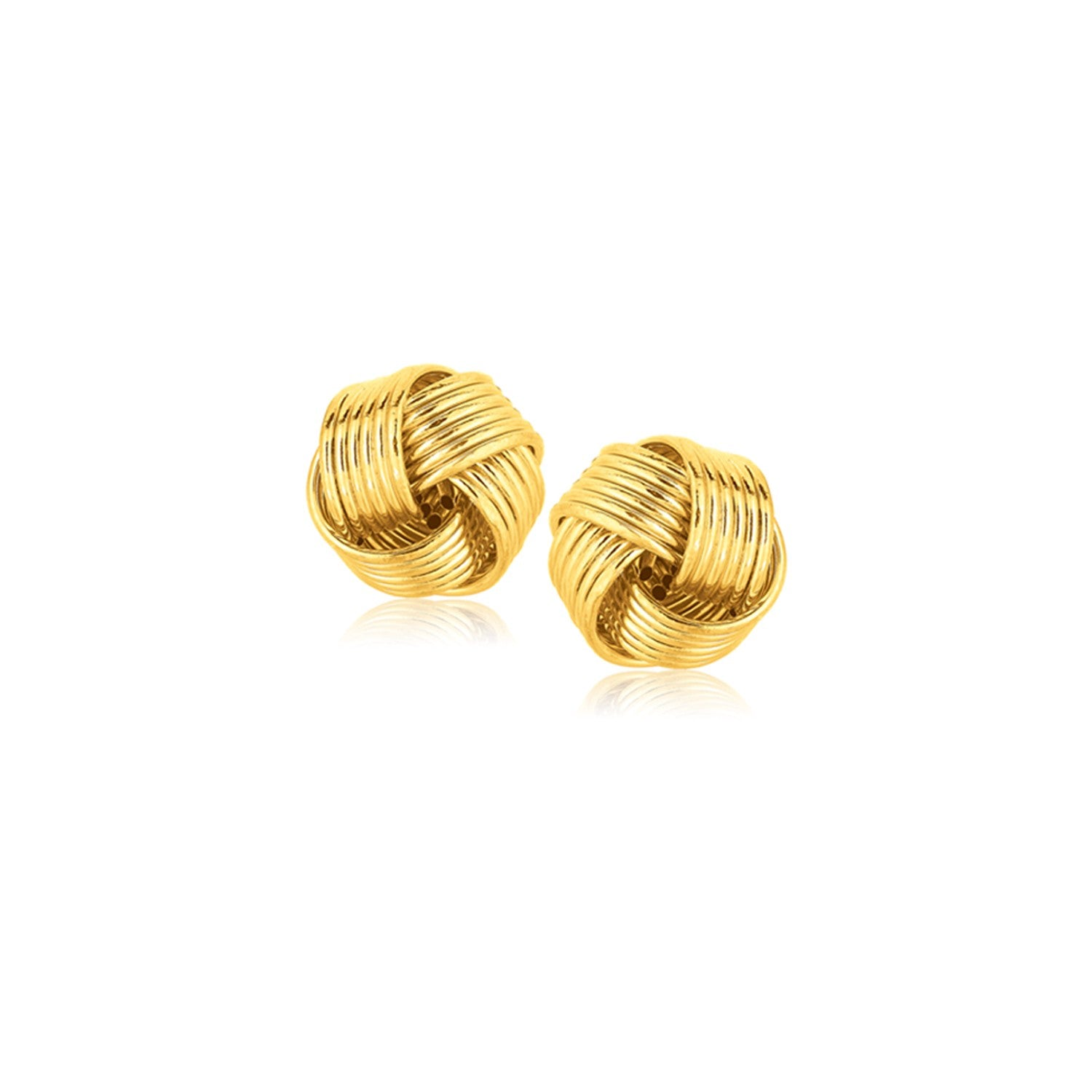 14K Yellow Gold Interlaced Love Knot Stud Earrings