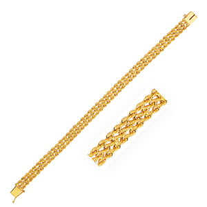 7.5mm 14K Yellow Gold Three Row Rope Bracelet