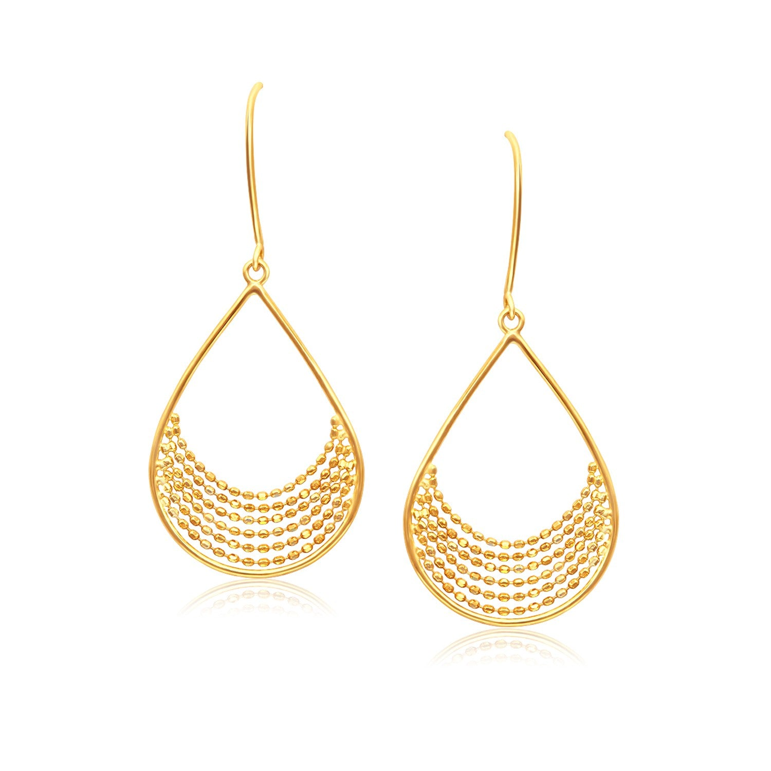 14K Yellow Gold Open Teardrop with Layered Bead Chain Earrings