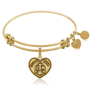 Expandable Bangle in Yellow Tone Brass with U.S. Navy Proud Wife Symbol
