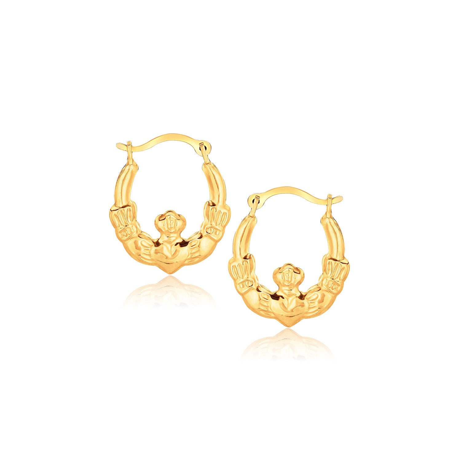 10K Yellow Gold Claddagh Hoop Earrings