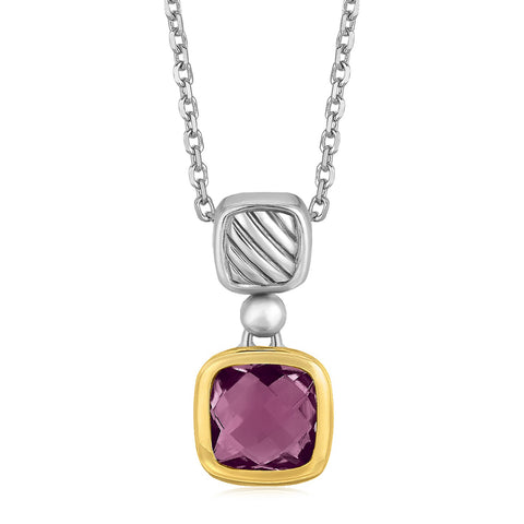 Distinctive Luxury London Style 18K Yellow Gold and Sterling Silver Necklace with an Amethyst Pendant