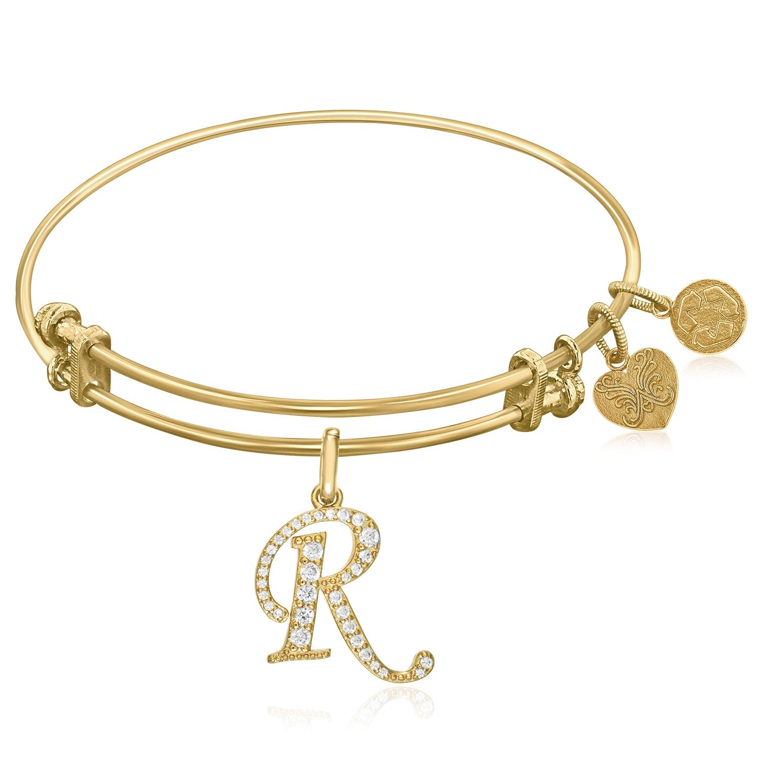 Expandable Yellow Tone Brass Bangle with R Symbol with Cubic Zirconia