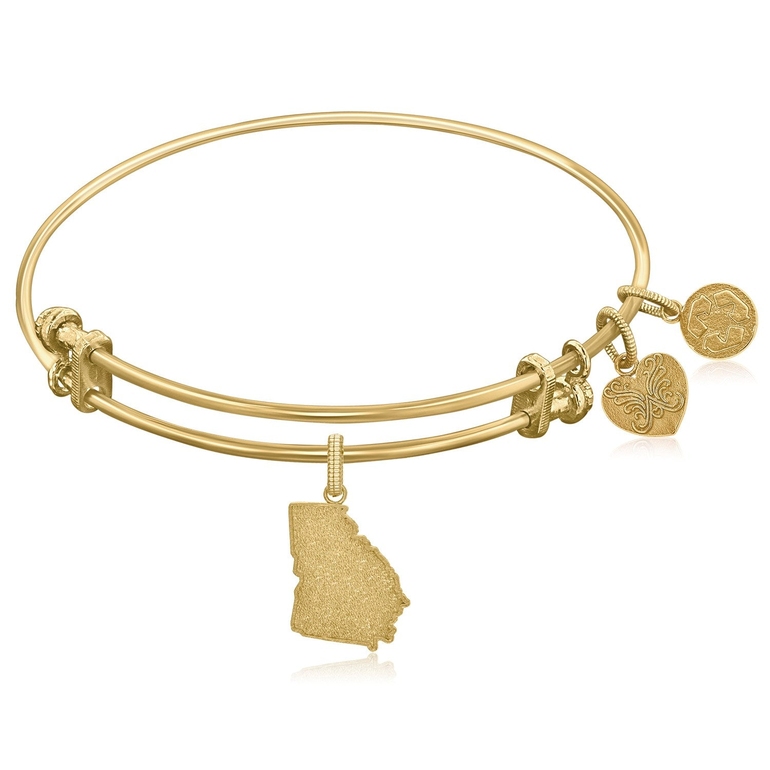 Expandable Yellow Tone Brass Bangle with Georgia Symbol