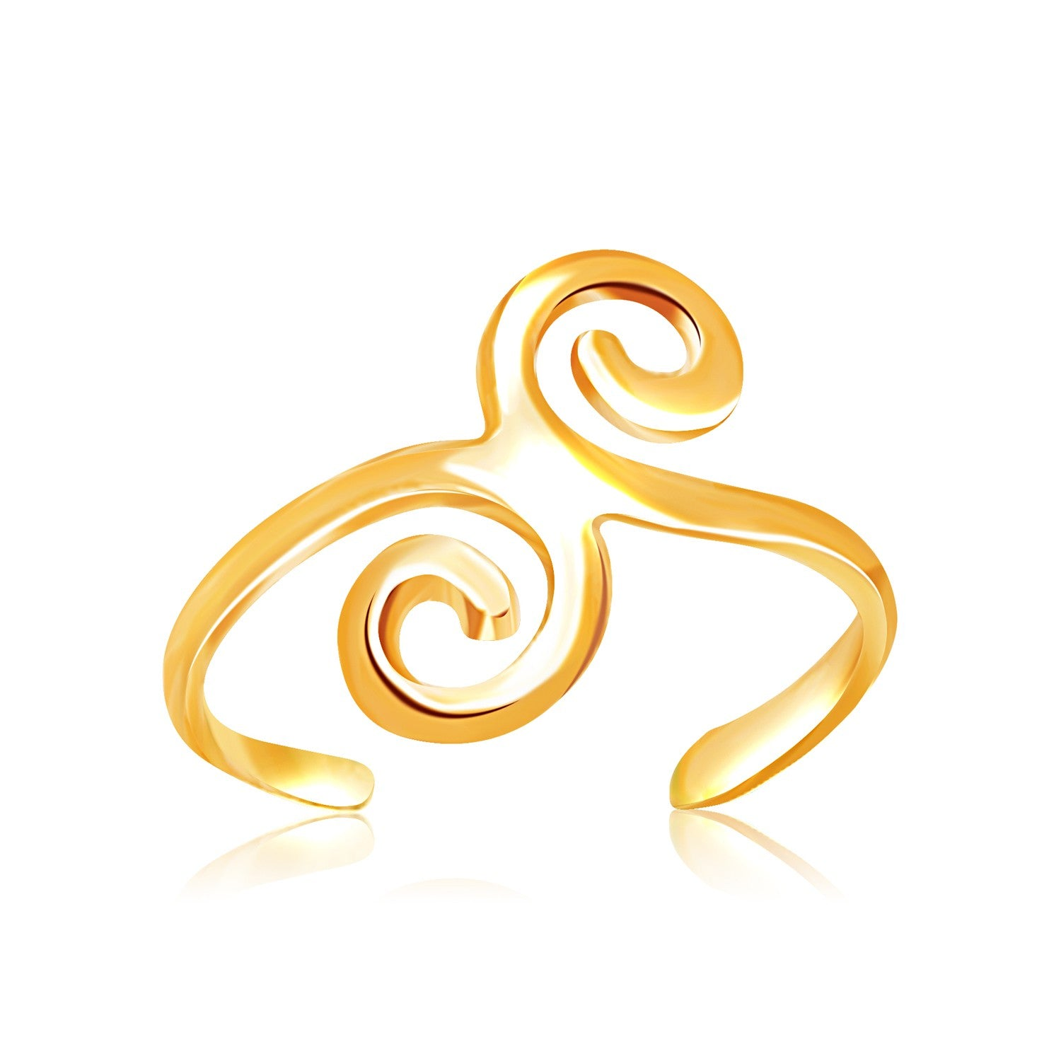 14K Yellow Gold Scrollwork Motif Toe Ring - Uniquepedia.com