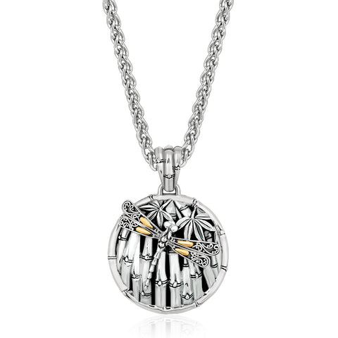 Distinctive Luxury London Style 18K Yellow Gold and Sterling Silver Pendant with Dragonfly Motif