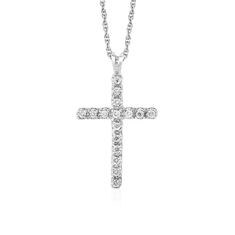 Distinctive Luxury London Style Cross Pendant with Diamonds in Sterling Silver