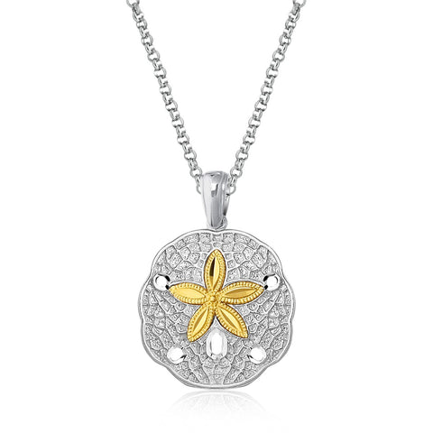 Distinctive Luxury London Style Designer Sterling Silver and 14K Yellow Gold Sand Dollar Pendant