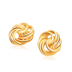 Rosetta Petite Love Knot Stud Earrings in 14K Yellow Gold