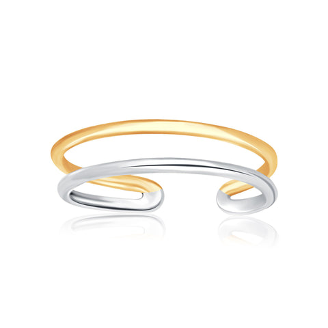 14K Two-Tone Gold Toe Ring with a Fancy Open Wire Style - Uniquepedia.com