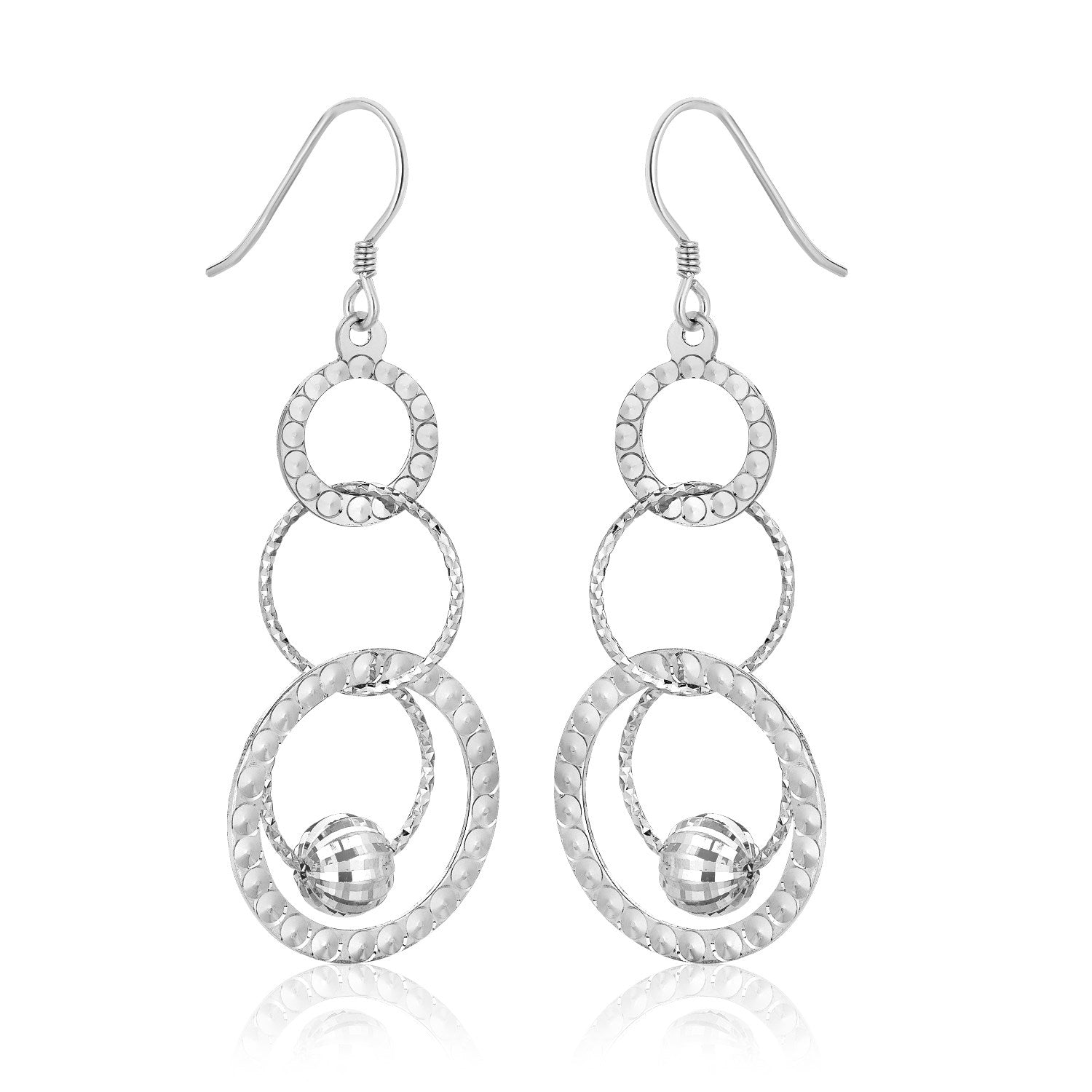 Sterling Silver Multi-Textured Open Rings and Ball Dangling Earrings