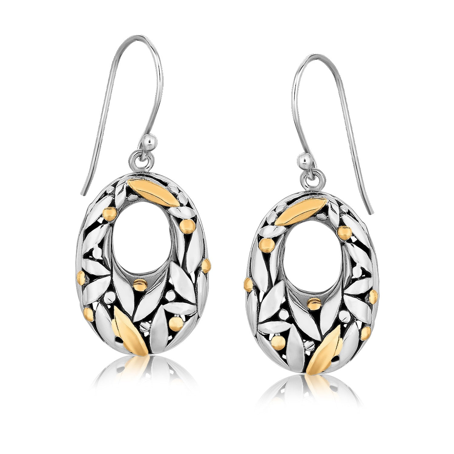 18K Yellow Gold and Sterling Silver Graduated Drop Earrings with Leaf Motifs