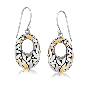 Unique Modern Paris Style 18K Yellow Gold and Sterling Silver Graduated Drop Earrings with Leaf Motifs