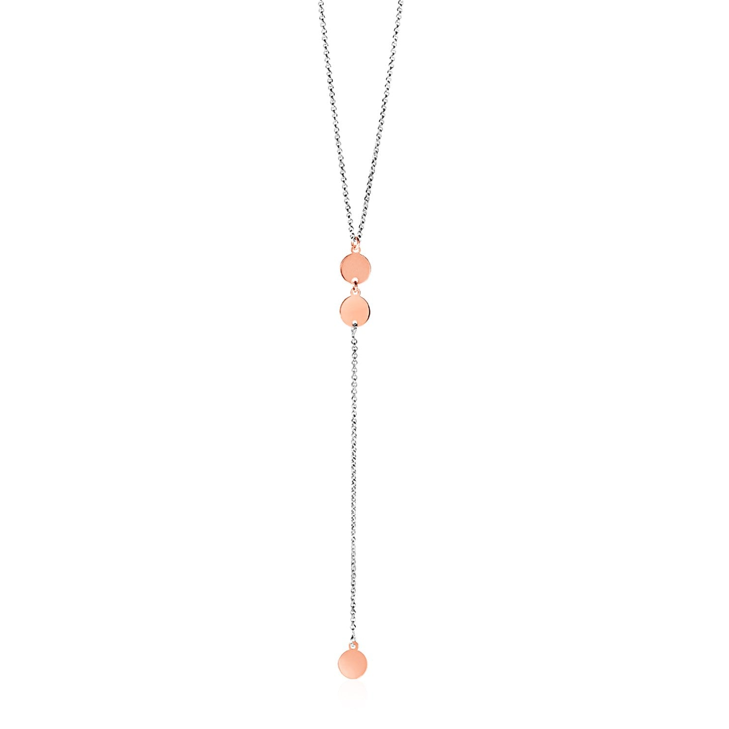 Lariat Style Necklace with Rose Finish Circles in Sterling Silver