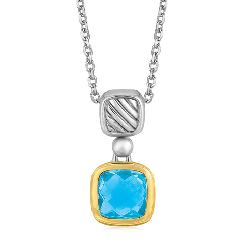 Distinctive Luxury London Style 18K Yellow Gold and Sterling Silver Necklace with Cushion Blue Topaz Pendant