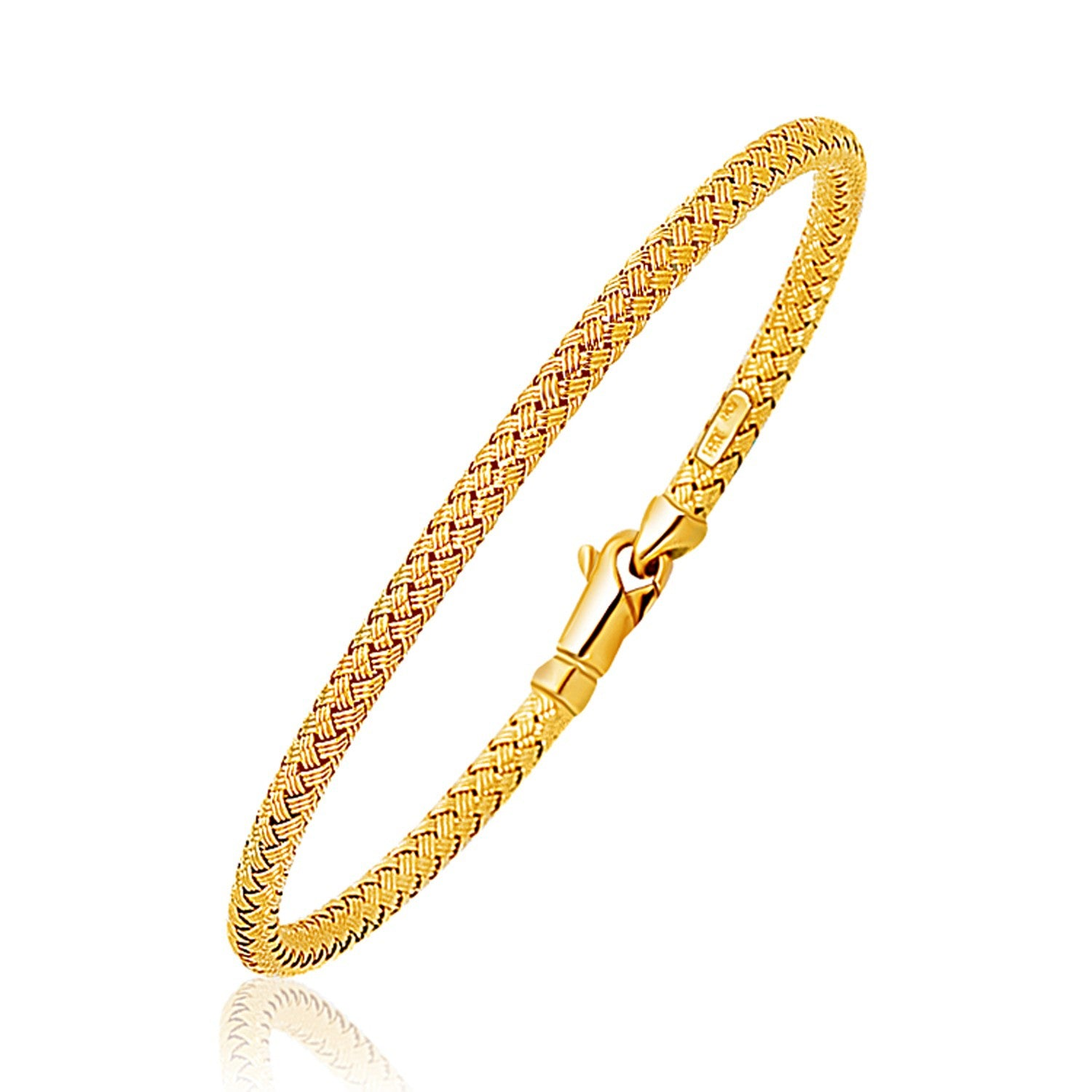 Fancy Weave Bangle in 14K Yellow Gold (3.0mm)