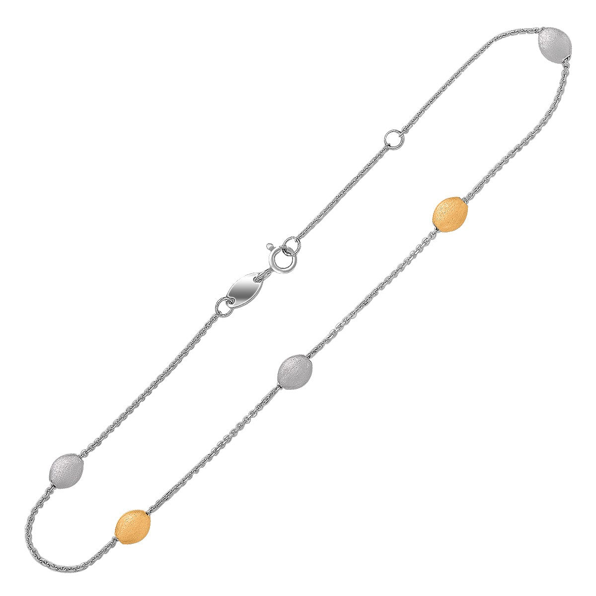 14K Yellow Gold and Sterling Silver Pebble Stationed Anklet - Uniquepedia.com