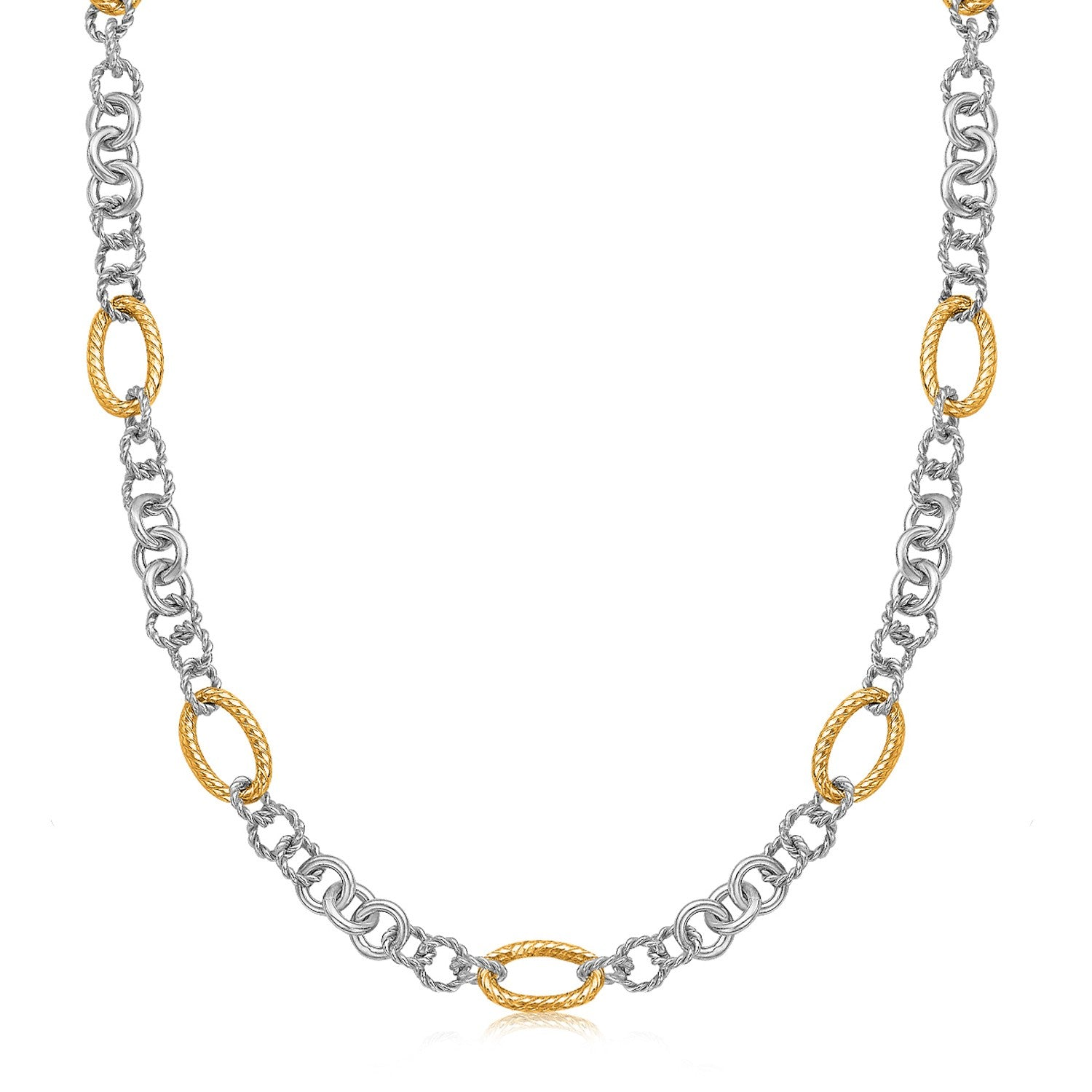 Unique Hollywood Style 18K Yellow Gold and Sterling Silver Rhodium Plated Multi Style Chain Necklace