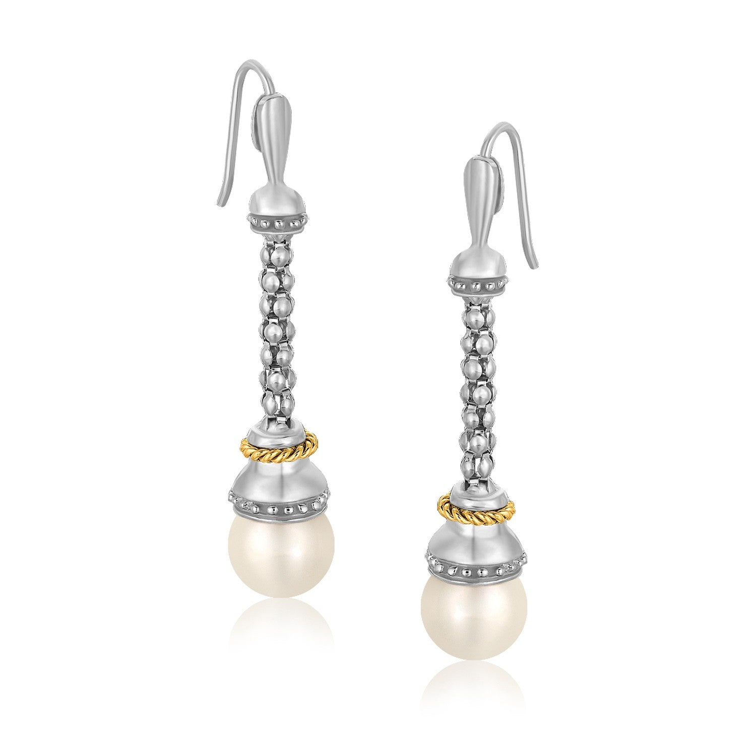 Unique Modern Paris Style 18K Yellow Gold and Sterling Silver Dangling Earrings with Pearl Ends