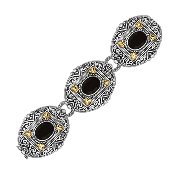18K Yellow Gold and Sterling Silver Bracelet with Scrollwork and Oval Black Onyx