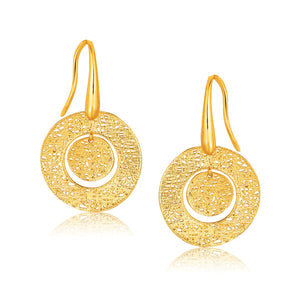 14K Yellow Gold Textured Weave Disc Earrings